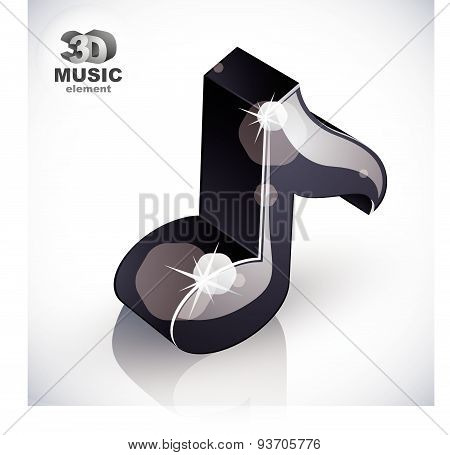 Black musical note icon from upper view isolated, 3d music design element, transparent