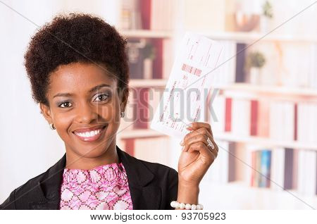 Black office woman tickets