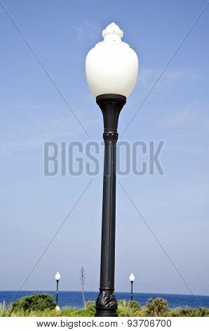Aegean Sea Beach Park Lamps In Rhodes, Greece