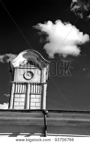 Tower With Ancient Clock On Old Manor Roof,b&w Picture