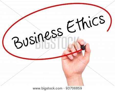 Man Hand writing Business Ethics with black marker on visual screen.