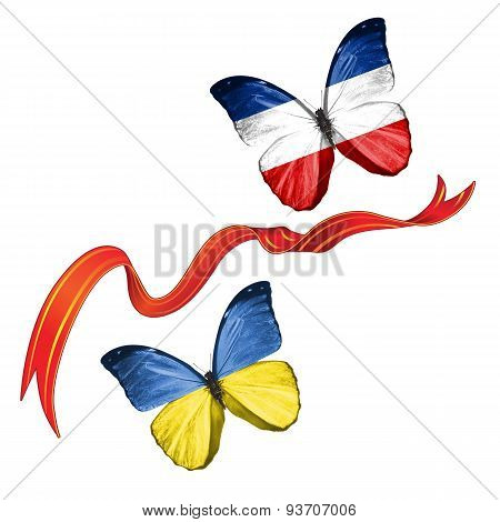 Two butterflies with symbols of Ukraine and Federal Republic of Yugoslavia