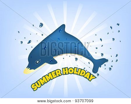 Summer holiday vector illustration with blue dolphin