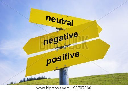 Positive, Negative, Neutral Arrow Signs