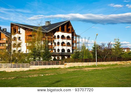 Alpine stile wooden chalet of Kempinski Hotel in Bansko