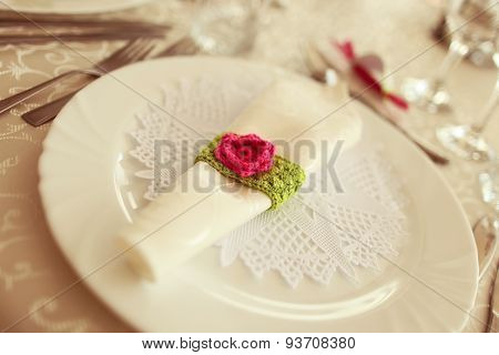 Green And Fuchsia Wedding Napkin An Table