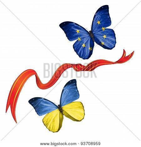 Two butterflies with symbols of Ukraine and European Union