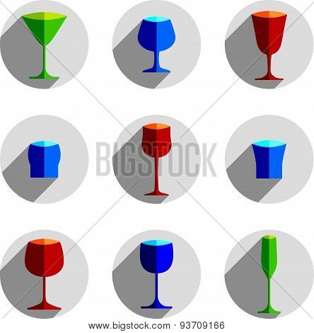 Colorful drinking glasses collection. Set of alcohol theme simple illustrations. Celebration element