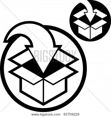 Packaging box with arrow delivery and packaging theme vector icon isolated on wh