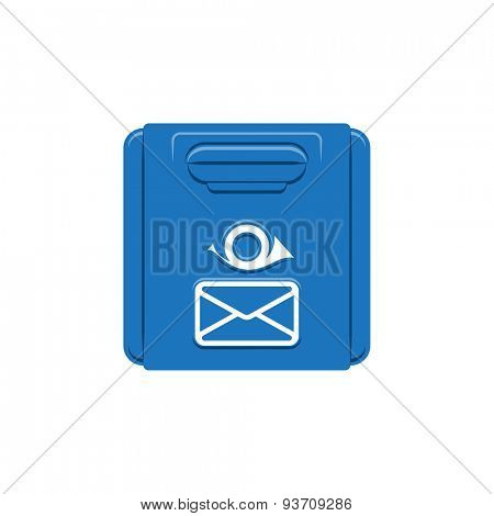 Blue Classic Mail Box. Retro Postbox