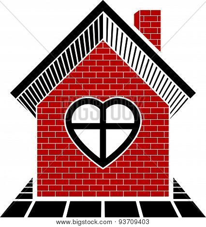 Family house abstract icon, harmony at home concept. Simple building constructed with bricks, archit