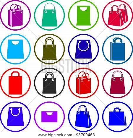 Shopping bag icons isolated on white background vector set, shopping theme simplistic symbols vector