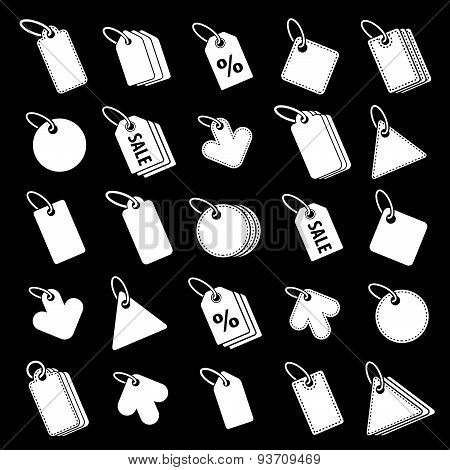 Tag icons vector set, retail theme simplistic symbols vector collections.