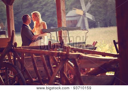 Bride And Groom In A Carriage