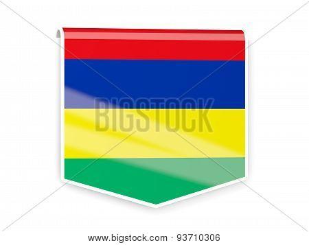 Flag Label Of Mauritius