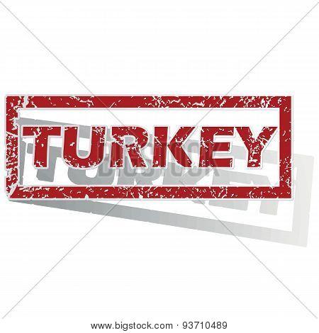 Turkey outlined stamp