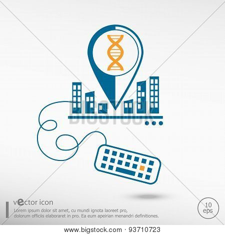 Dna Icon And Keyboard.