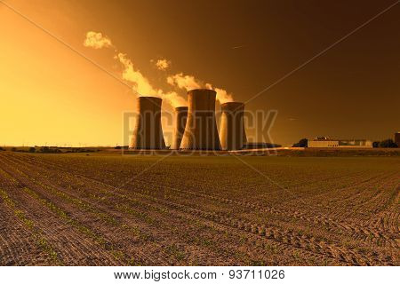 Nuclear power plant Dukovany in Czech Republic Europe, sunset sky