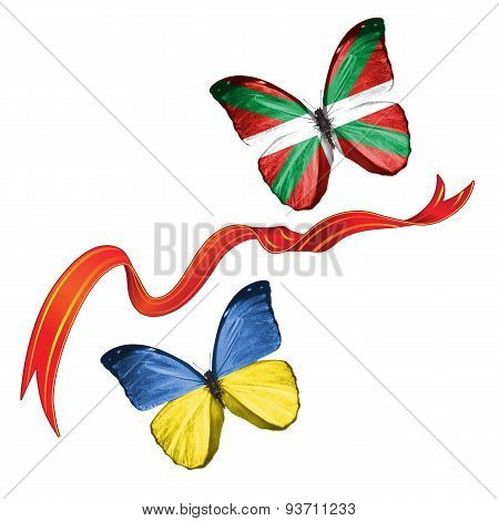 Two butterflies with symbols of Ukraine and Basque Country (Spain)