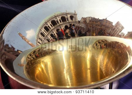 Reflection Of An Italian Monument In The Surface Of The Trombone