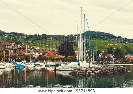 Small port on the lake Geneva