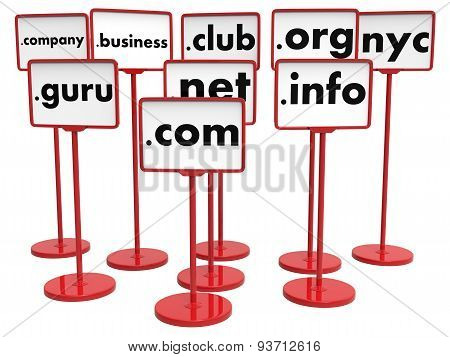Popular Domain Names, Internet Concept.