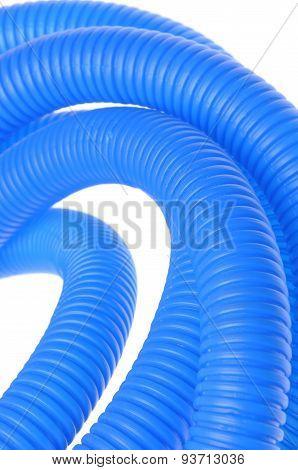 Blue plastic corrugated pipe