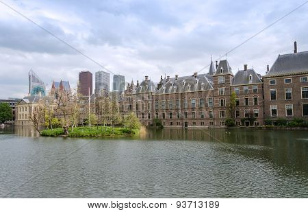 Dutch Parliament Buildings Binnenhof With Skyscrapers In The Background In The Hague