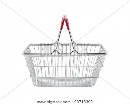 Shopping basket isolated on white background with clipping path