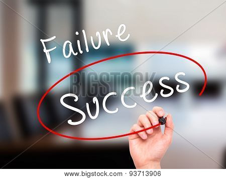 Man Hand writing and choosing, Success instead of Failure, with black marker on visual screen.
