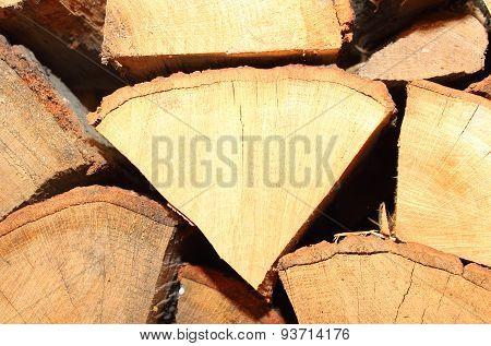 Closeup Of Dry, Chopped Firewood