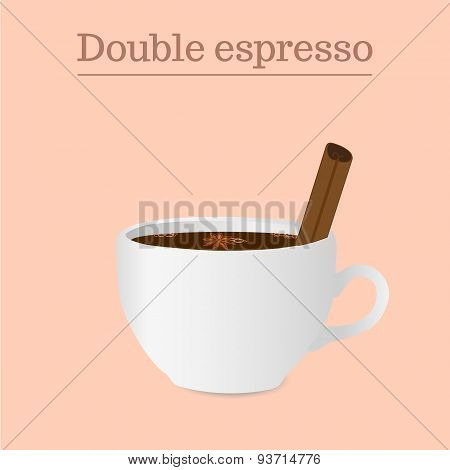 Vector Cup Of Double Espresso Or Americano With Spices