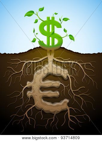 Growing Dollar Sign As Plant With Leaves And Euro Sign As Root