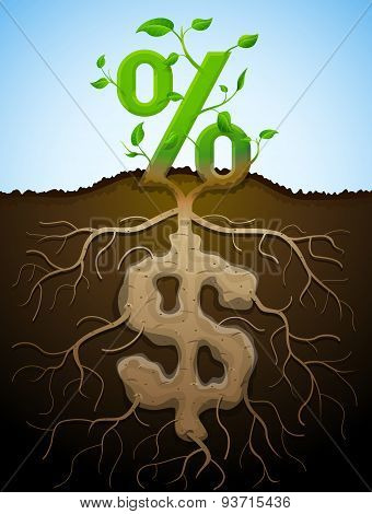Growing Percent Sign As Plant With Leaves And Dollar Sign As Root