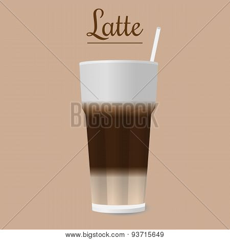 Vector Glass Of Latte