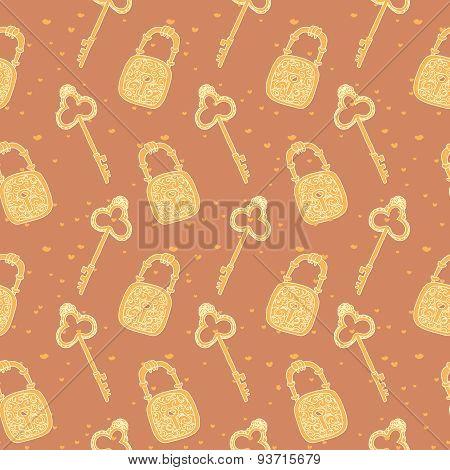 seamless pattern of keys and locks. Retro vintage lock and key