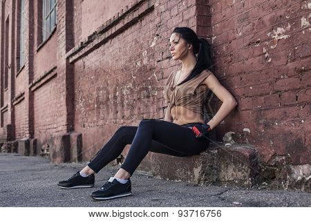 Fitness Sport Girl Resting After Intensive Evening Run, Young Attractive Runner Taking Break After J
