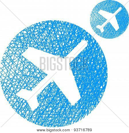 Plane vector icon isolated on white background with sketch lined hand drawn texture.