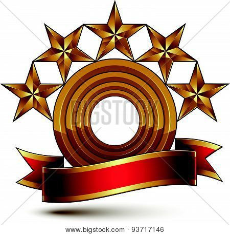 Majestic vector golden ring isolated on white background, 3d polished golden stars. Heraldic symbol