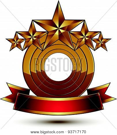 Majestic vector golden ring isolated on white background, 3d polished five golden stars. Heraldic