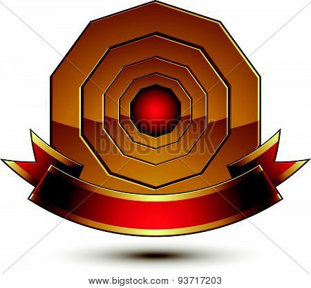 Design vector golden ring template with red curvy ribbon, 3d round aristocratic badge isolated