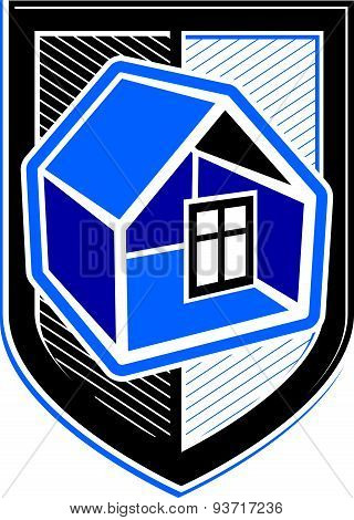 Property protection idea, stylized heraldic symbol with classic house. Real estate agency