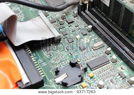 Printed Computer Motherboard Board With Microcircuit