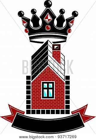 Imperial coat of arms, royal house conceptual symbol. Protection shield with 3d king crown. Majestic