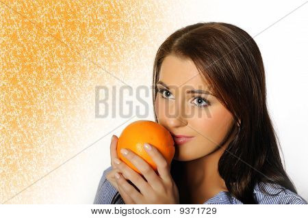 Young Beautiful Woman With Citrus Orange Fruit Having Fun. Isolated On White Background. Copyspace