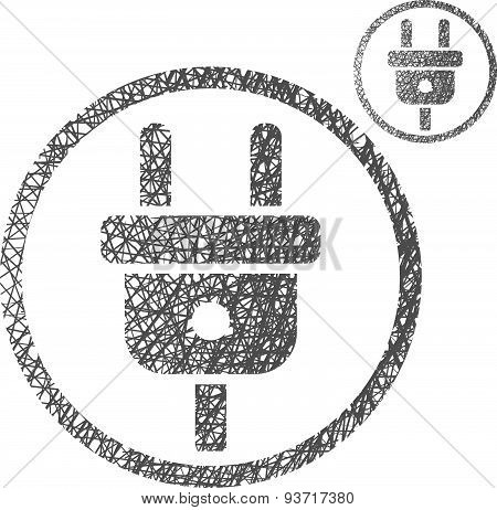 Electric cable plug input vector icon isolated on white background with sketch hand drawn texture
