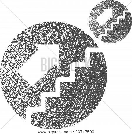 Stairs up vector icon isolated on white background with sketch lined hand drawn texture.