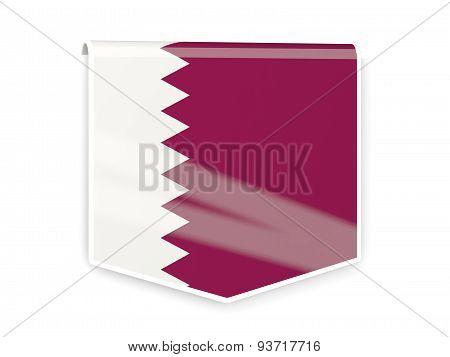 Flag Label Of Qatar