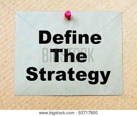 Define The Strategy  Written On Paper Note