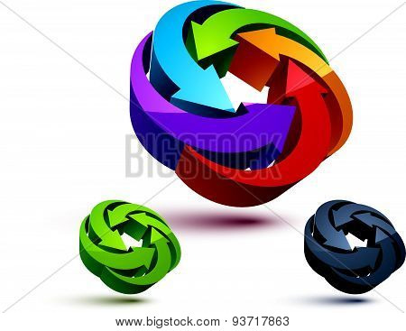 Looping arrows vector abstract symbol, conceptual special made 3d icon set.